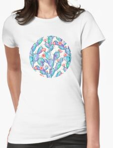 Rainbow Watercolor Cactus Pattern Womens Fitted T-Shirt