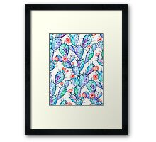 Rainbow Watercolor Cactus Pattern Framed Print