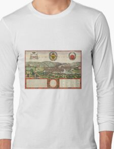 Liege Vintage map.Geography Belgium ,city view,building,political,Lithography,historical fashion,geo design,Cartography,Country,Science,history,urban Long Sleeve T-Shirt