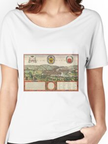 Liege Vintage map.Geography Belgium ,city view,building,political,Lithography,historical fashion,geo design,Cartography,Country,Science,history,urban Women's Relaxed Fit T-Shirt