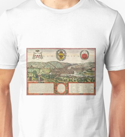 Liege Vintage map.Geography Belgium ,city view,building,political,Lithography,historical fashion,geo design,Cartography,Country,Science,history,urban Unisex T-Shirt