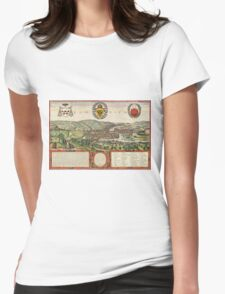 Liege Vintage map.Geography Belgium ,city view,building,political,Lithography,historical fashion,geo design,Cartography,Country,Science,history,urban Womens Fitted T-Shirt