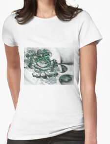 Glossy Green Bloom - Abstract Fractal Artwork Womens Fitted T-Shirt