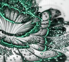 Glossy Green Bloom - Abstract Fractal Artwork Sticker