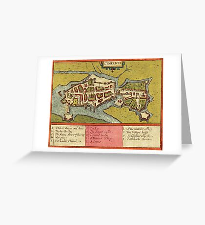 Limerick Vintage map.Geography Irland ,city view,building,political,Lithography,historical fashion,geo design,Cartography,Country,Science,history,urban Greeting Card