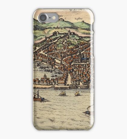 Genova Vintage map.Geography Switzerland ,city view,building,political,Lithography,historical fashion,geo design,Cartography,Country,Science,history,urban iPhone Case/Skin