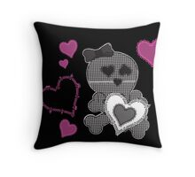 Skull Patchwook Lace Design - Pink Hot Pop Throw Pillow