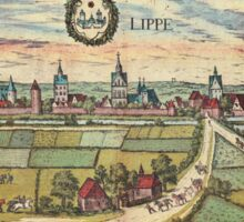 Lippstadt Vintage map.Geography Germany ,city view,building,political,Lithography,historical fashion,geo design,Cartography,Country,Science,history,urban Sticker