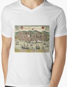 Lisbon2 Vintage map.Geography Portugal ,city view,building,political,Lithography,historical fashion,geo design,Cartography,Country,Science,history,urban Mens V-Neck T-Shirt