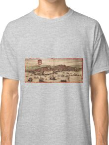 Lisbon Vintage map.Geography Portugal ,city view,building,political,Lithography,historical fashion,geo design,Cartography,Country,Science,history,urban Classic T-Shirt