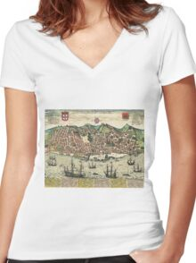 Lisbon2 Vintage map.Geography Portugal ,city view,building,political,Lithography,historical fashion,geo design,Cartography,Country,Science,history,urban Women's Fitted V-Neck T-Shirt