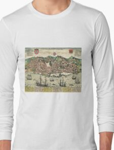 Lisbon2 Vintage map.Geography Portugal ,city view,building,political,Lithography,historical fashion,geo design,Cartography,Country,Science,history,urban Long Sleeve T-Shirt