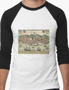 Lisbon2 Vintage map.Geography Portugal ,city view,building,political,Lithography,historical fashion,geo design,Cartography,Country,Science,history,urban Men's Baseball ¾ T-Shirt