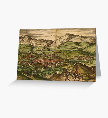 Loja Vintage map.Geography Spain ,city view,building,political,Lithography,historical fashion,geo design,Cartography,Country,Science,history,urban Greeting Card
