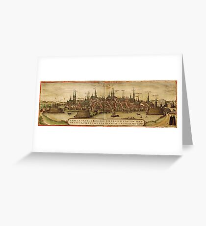 Lubeck Vintage map.Geography Germany ,city view,building,political,Lithography,historical fashion,geo design,Cartography,Country,Science,history,urban Greeting Card