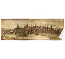 Lubeck Vintage map.Geography Germany ,city view,building,political,Lithography,historical fashion,geo design,Cartography,Country,Science,history,urban Poster