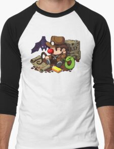 Spelunky guy, bat, snake and map! Men's Baseball ¾ T-Shirt