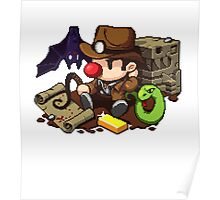 Spelunky guy, bat, snake and map! Poster
