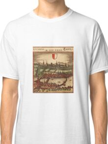 Luzern Vintage map.Geography Switzerland ,city view,building,political,Lithography,historical fashion,geo design,Cartography,Country,Science,history,urban Classic T-Shirt