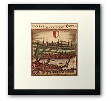 Luzern Vintage map.Geography Switzerland ,city view,building,political,Lithography,historical fashion,geo design,Cartography,Country,Science,history,urban Framed Print