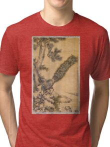 Shen Nanpin - Bamboo, Pine And Peacocks. Forest view: forest , trees,  fauna, nature, birds, animals, flora, flowers, plants, field, weekend Tri-blend T-Shirt