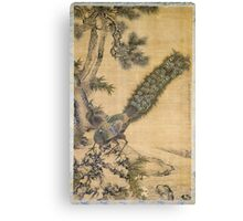 Shen Nanpin - Bamboo, Pine And Peacocks. Forest view: forest , trees,  fauna, nature, birds, animals, flora, flowers, plants, field, weekend Canvas Print