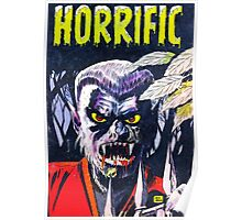 Horrific Tales Werewolf monster comic cover Poster