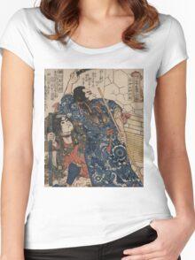 Utagawa, Kuniyoshi - Motosei Komei, Unri Kongo Soma, And Rokkasei Koryo. Man portrait:  mask,  face,  man ,  samurai ,  hero,  costume,  kimono,  tattoos ,  sport,  sumo, macho Women's Fitted Scoop T-Shirt