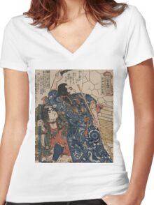 Utagawa, Kuniyoshi - Motosei Komei, Unri Kongo Soma, And Rokkasei Koryo. Man portrait:  mask,  face,  man ,  samurai ,  hero,  costume,  kimono,  tattoos ,  sport,  sumo, macho Women's Fitted V-Neck T-Shirt