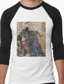 Utagawa, Kuniyoshi - Motosei Komei, Unri Kongo Soma, And Rokkasei Koryo. Man portrait:  mask,  face,  man ,  samurai ,  hero,  costume,  kimono,  tattoos ,  sport,  sumo, macho Men's Baseball ¾ T-Shirt
