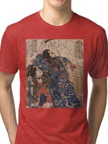 Utagawa, Kuniyoshi - Motosei Komei, Unri Kongo Soma, And Rokkasei Koryo. Man portrait:  mask,  face,  man ,  samurai ,  hero,  costume,  kimono,  tattoos ,  sport,  sumo, macho Tri-blend T-Shirt