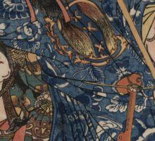 Utagawa, Kuniyoshi - Motosei Komei, Unri Kongo Soma, And Rokkasei Koryo. Man portrait:  mask,  face,  man ,  samurai ,  hero,  costume,  kimono,  tattoos ,  sport,  sumo, macho Sticker