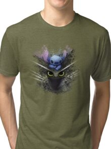 Baby Toothless Dragon and Stitch Tri-blend T-Shirt