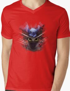 Baby Toothless Dragon and Stitch Mens V-Neck T-Shirt