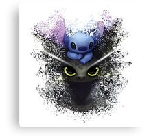 Baby Toothless Dragon and Stitch Canvas Print