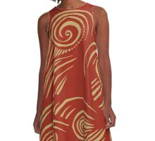 waves (red/gold) A-Line Dress