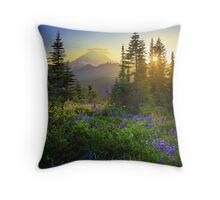 Mount Rainier Sunburst Throw Pillow