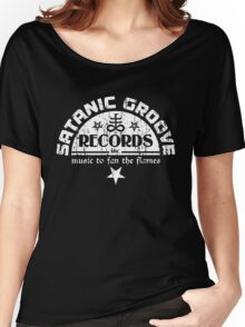 Vintage Style Satanic Record Label with Cross & Pentagrams Women's Relaxed Fit T-Shirt