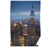 Empire State Blue Night Poster