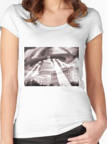 UFO Over Capital (Sepia) Women's Fitted Scoop T-Shirt