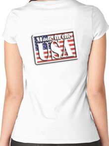 AMERICAN, Stars and Stripes, Made in the USA, Flag, Manufactured in America, US, USA, American Women's Fitted Scoop T-Shirt