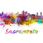 Sacramento skyline in watercolor by paulrommer