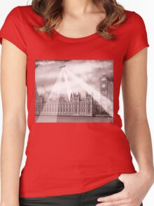 UFO Over London (Sepia) 2 Women's Fitted Scoop T-Shirt