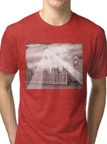 UFO Over London (Sepia) 2 Tri-blend T-Shirt