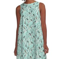 Crows in the Trees Snowy Morning A-Line Dress