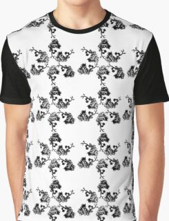 Black and White Orchid Fractal - Floral Geometry Study  Graphic T-Shirt