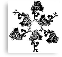 Black and White Orchid Fractal - Floral Geometry Study  Canvas Print