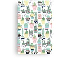 Cute Cacti in Pots Canvas Print