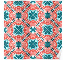 Decorative print with red blue geometric ornament Poster