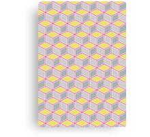 Tumbling Blocks, Pink/Yellow Canvas Print